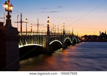Trinity Bridge across the Neva in Saint Petersburg Russia