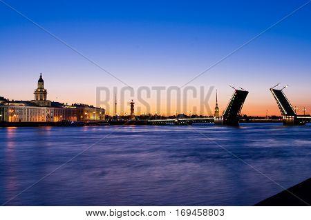 Divorced Palace Bridge during the White Nights view on Kuntskamera St. Petersburg Russia. July 3 2010