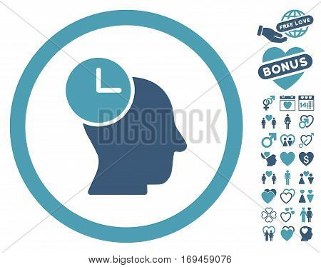 Time Thinking pictograph with bonus passion icon set. Vector illustration style is flat rounded iconic cyan and blue symbols on white background.