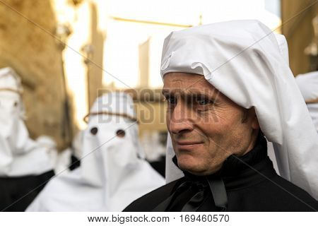Enna, Sicily, Italy - March 25, 2016 Gaze Of Man Partecipant Good Friday Procession