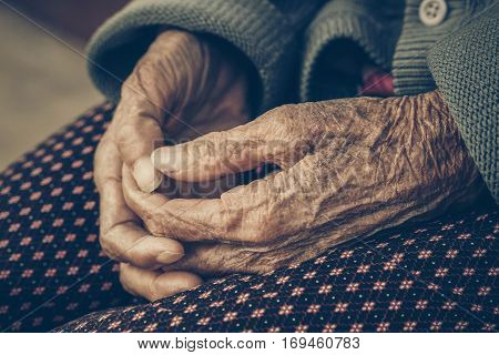 Old Asian female hands full of freckles and wrinkles at the age of more than 80 years old / Aging concept