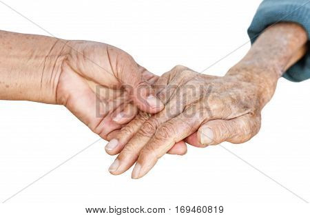 Elderly people holding hands together isolated on white