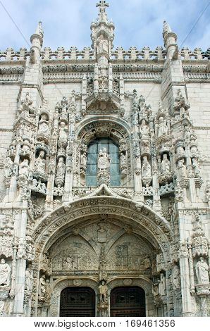 Main facade of the Jeronimos monastery in Lisbon, Portugal.