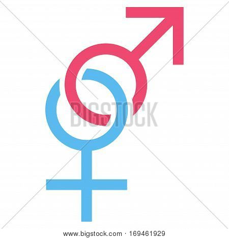 Sex Symbol flat icon. Vector bicolor pink and blue symbol. Pictograph is isolated on a white background. Trendy flat style illustration for web site design logo ads apps user interface.