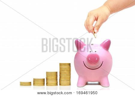 Hand of a young baby giving golden coin to a piggy bank / Young generation start saving for the future