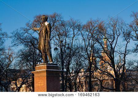 Statue of Alexander Pushkin famous Russian poet. Arts Square St. Petersburg Russia