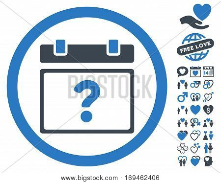 Unknown Date icon with bonus valentine images. Vector illustration style is flat rounded iconic smooth blue symbols on white background.