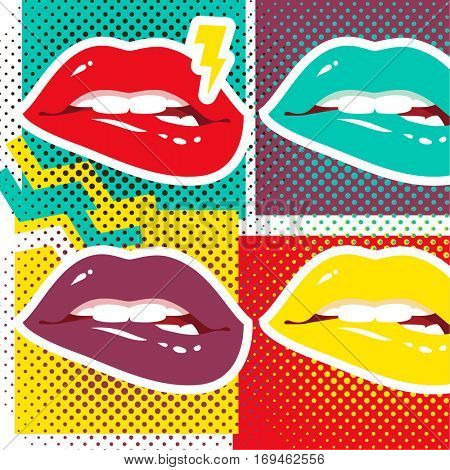 Pop art lips Retro style art print