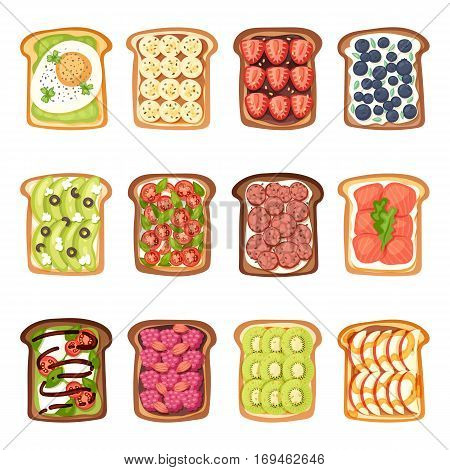 Breakfast toast set slices with butter, jam, avocado and fried egg. Flat cartoon style vector illustration. Crust sandwich fresh cooked bakery lunch nutrition snack.
