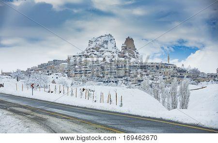 Uchisar Castle during winter in Cappadocia Turkey