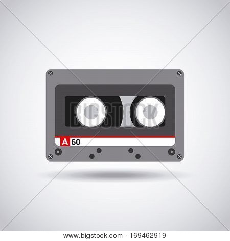 music casette icon over white background. colorful design. vector illustration