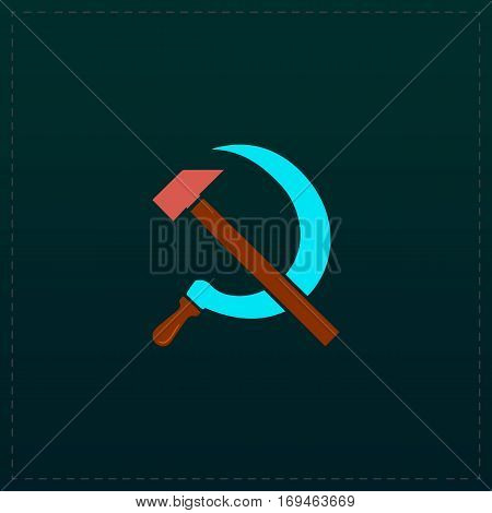 Hammer and sickle. Color symbol icon on black background. Vector illustration