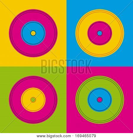 music vinyls over colorful squares. vector illustration