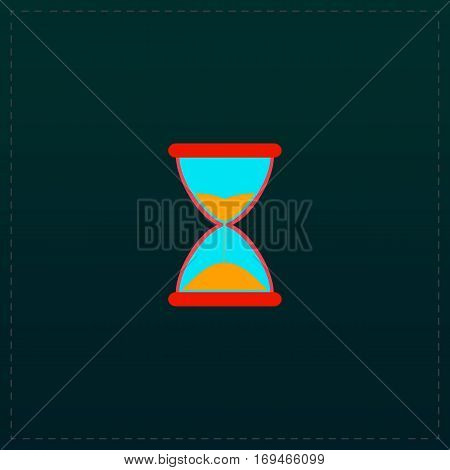 Hourglass time. Color symbol icon on black background. Vector illustration