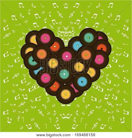 music vinyls in heart shape over green background. colorful design. vector illustration