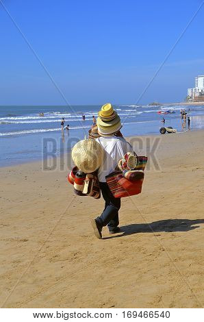MAZATLAN, MEXICO, January 27, 2107: Unidentified vendors sell on one of El Cid Marina Resorts which are located throughout Mexico