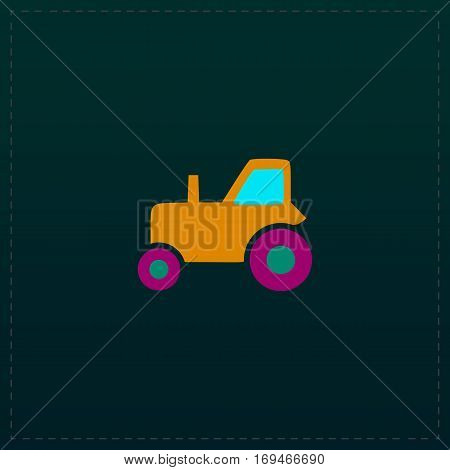 Tractor. Color symbol icon on black background. Vector illustration
