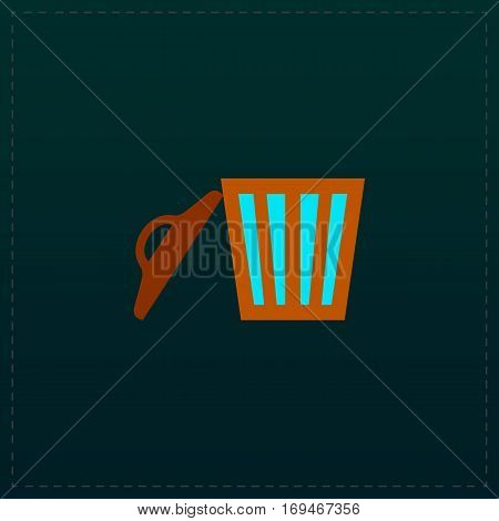 Trash can. Color symbol icon on black background. Vector illustration