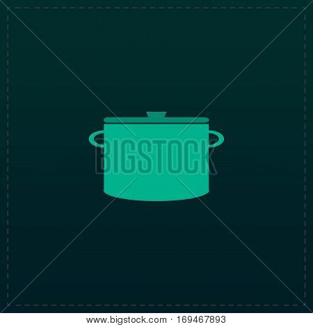 Kitchen pan. Color symbol icon on black background. Vector illustration