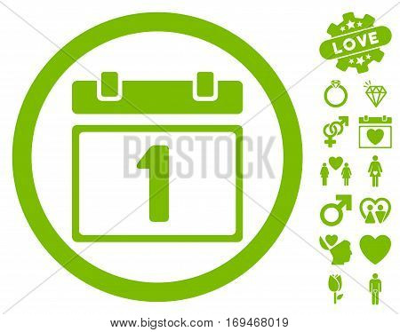 First Day icon with bonus love symbols. Vector illustration style is flat rounded iconic eco green symbols on white background.
