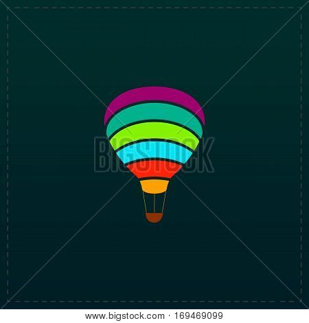 Sky balloon. Color symbol icon on black background. Vector illustration