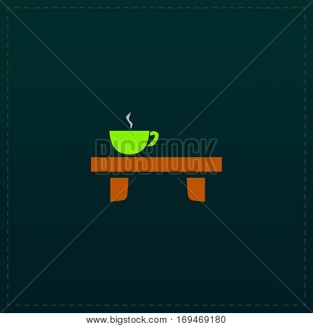 Cup on the table. Color symbol icon on black background. Vector illustration