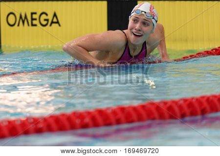 ST. PETERSBURG, RUSSIA - DECEMBER 16, 2016: Ekaterina Tomashevskaia won 50 m backstroke swimming competition during X Salnikov Cup. Athletes from 6 countries participated in the competitions