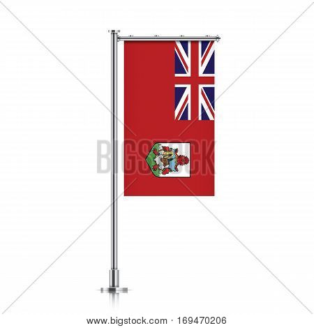 Bermuda vector banner flag hanging on a silver metallic pole. Vertical Bermuda flag template isolated on a white background.