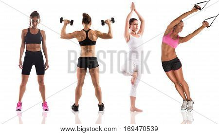 Women coach with muscular bodies during fitness workout