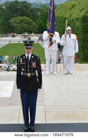 ARLINGTON, USA - MAY 28, 2013 : Ceremonial veteran guards at the Tomb of the Unknown Soldier at Arlington National Cemetery near to Washington DC United States.