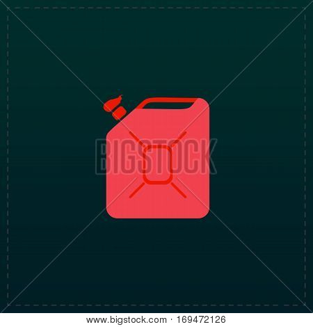 Jerrycan oil. Color symbol icon on black background. Vector illustration
