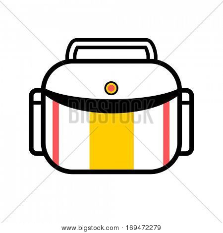Bag or suitcase for digital camera. Vector icon equipment of professional photographer - case for photocamera. Media, technology symbol. Modern minimalistic flat design Illustration isolated on white.
