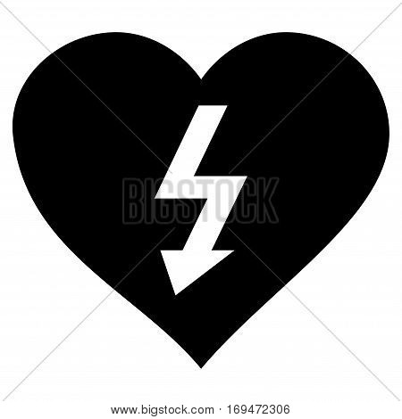 Power Love Heart flat icon. Vector black symbol. Pictograph is isolated on a white background. Trendy flat style illustration for web site design, logo, ads, apps, user interface.