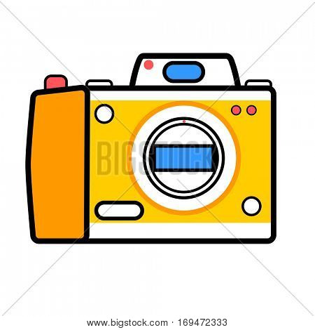 Camera vector icon. Symbol of equipment for digital photography or photographer. Device for creative photo, photocamera sign. Modern minimalistic flat design. Illustration isolated on white background