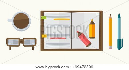 Notebook with notes, markers, pen and pencil, glasses and coffee cup. Icon set in flat design: open notepad, book with reminder. Business graphic illustration isolated on white