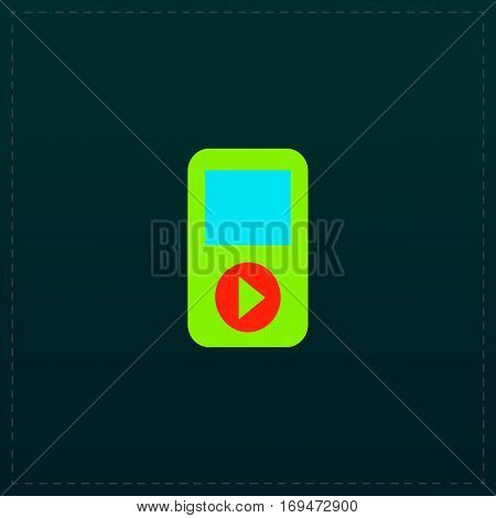 MP3 player. Color symbol icon on black background. Vector illustration