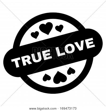 True Love Stamp Seal flat icon. Vector black symbol. Pictograph is isolated on a white background. Trendy flat style illustration for web site design, logo, ads, apps, user interface.