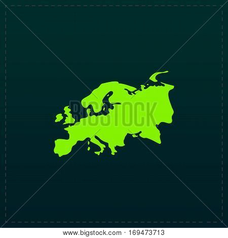 Eurasia map. Color symbol icon on black background. Vector illustration poster