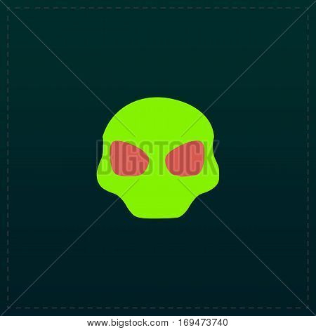 Alien Head. Color symbol icon on black background. Vector illustration