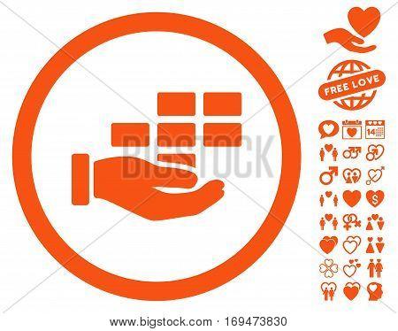 Service Schedule icon with bonus decorative pictograms. Vector illustration style is flat rounded iconic orange symbols on white background.