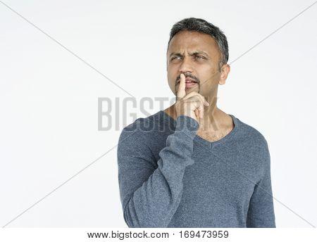 Adult man quiet please gesture