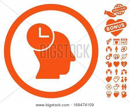 Time Thinking pictograph with bonus decoration graphic icons. Vector illustration style is flat rounded iconic orange symbols on white background.