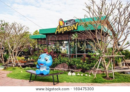 Nakorn Ratchasima THAILAND - Jan 26 : Cafe Amazon beverage shop at PTT Oil station on Jan 26 2016 in Korat THAILAND. It's a famous Thai franchise coffee house in Thailand.