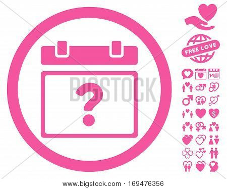 Unknown Date icon with bonus dating pictures. Vector illustration style is flat rounded iconic pink symbols on white background.