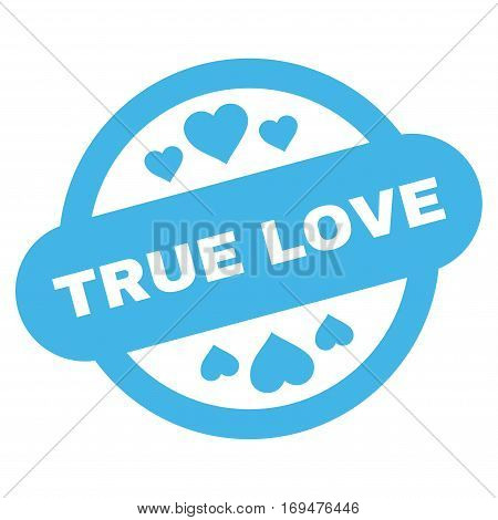 True Love Stamp Seal flat icon. Vector blue symbol. Pictograph is isolated on a white background. Trendy flat style illustration for web site design, logo, ads, apps, user interface.