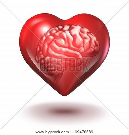 Smart love concept with a brain inside a red heart shape as a saint valentine idea concept or relationship psychology and couple counseling as a 3D illustration.