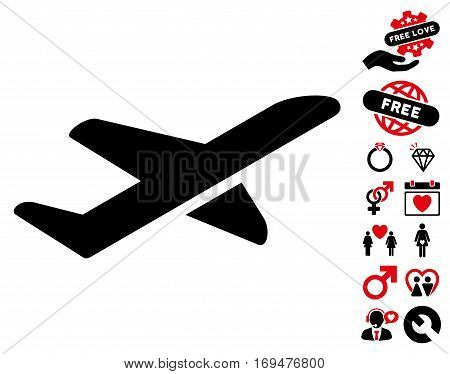 Airplane Takeoff icon with bonus dating images. Vector illustration style is flat iconic intensive red and black symbols on white background.