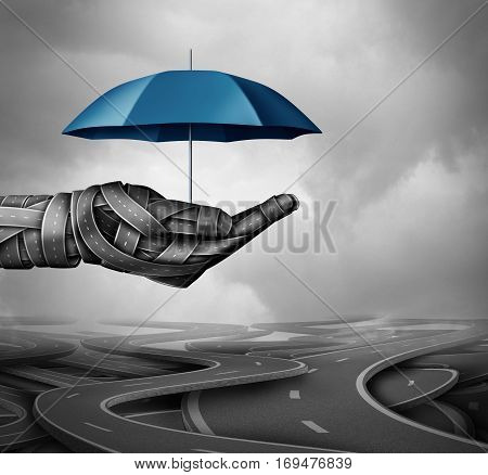 Road protection concept and accident prevention transportation system as a group of highway paths shaped as a human driver hand holding an umbrella as a symbol for auto pilot and self driving assistance as a 3D illustration.