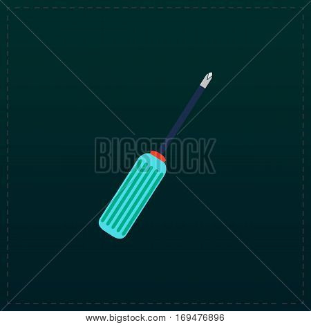 Pocket phillips screwdriver. Color symbol icon on black background. Vector illustration