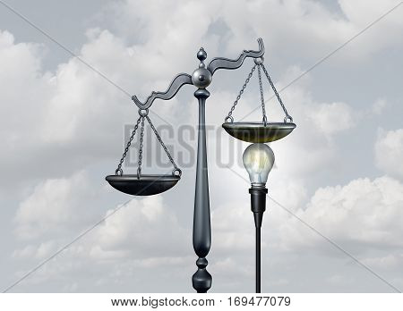 Legal ideas and creative justice concept as a bright light bulb tipping the scale of judgement as lawyer services or legislation metaphor or mediation and arbitration symbol as a 3D illustration.